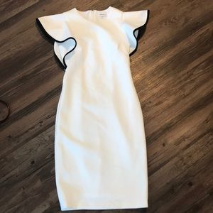 Calvin Klein White sheath dress flutter sleeve